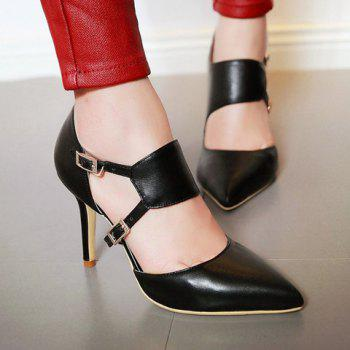 Fashionable Pointed Toe and Double Buckle Design Women's Pumps - 39 39