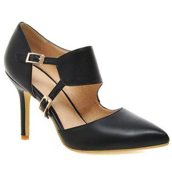Fashionable Pointed Toe and Double Buckle Design Women's Pumps - BLACK 39