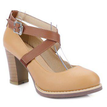 College Style Chunky Heels and Buckle Strap Design Pumps For Women - APRICOT 39