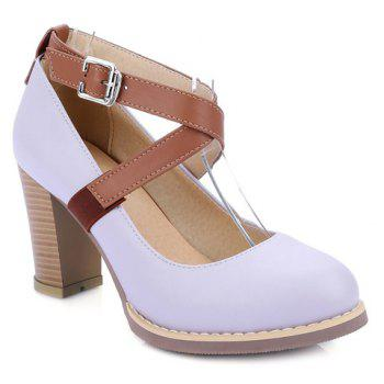 College Style Chunky Heels and Buckle Strap Design Pumps For Women - PURPLE 39
