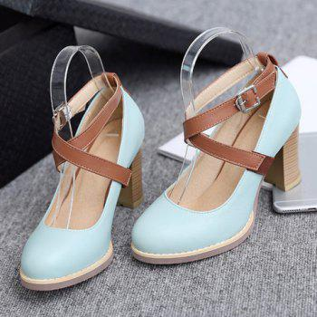 College Style Chunky Heels and Buckle Strap Design Pumps For Women - 39 39