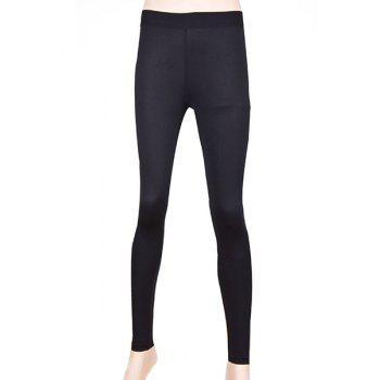 Simple Elasitc Waist Fitted Solid Color  Women's Pants