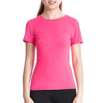 Simple Round Neck Short Sleeves Skinny Women's T-Shirt