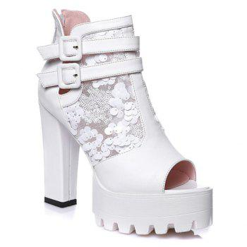 Trendy Buckle Strap and Chunky Heeled Design Peep Toe Shoes For Women - WHITE WHITE