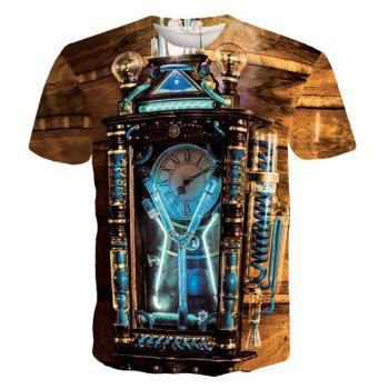 Stylish Round Neck Vintage Clock Pattern Short Sleeve Men's T-Shirt