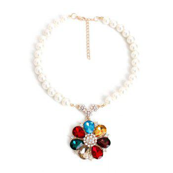 Rhinestone Faux Pearl Flower Necklace