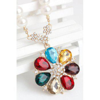 Rhinestone Faux Pearl Flower Necklace - COLORMIX