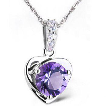 Charming Rhinestoned Faux Amethyst Heart Necklace For Women