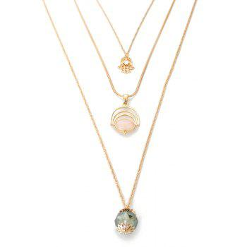 Chic Faux Gemstone Multi-Layered Sweater Chain For Women - GOLDEN GOLDEN