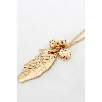 Stylish Solid Color Leaf Sweater Chain For Women -  GOLDEN