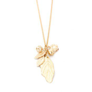Stylish Solid Color Leaf Sweater Chain For Women - GOLDEN GOLDEN