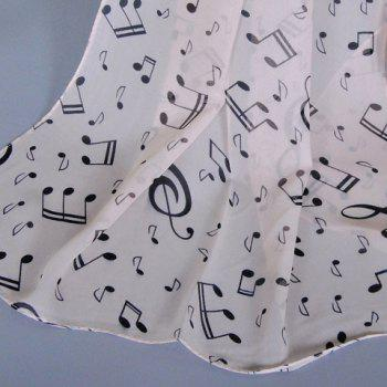 Chic Musical Notes Pattern Women's Chiffon Scarf - COFFEE