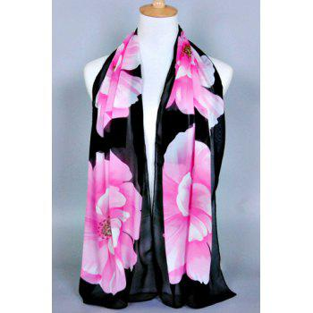 Chic Big Flower Painting Pattern Women's Chiffon Scarf