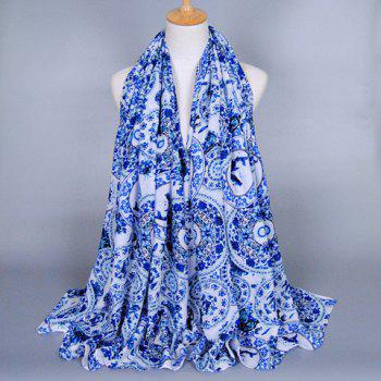 Chic Fulled Blue and White Porcelain Pattern Women's Scarf
