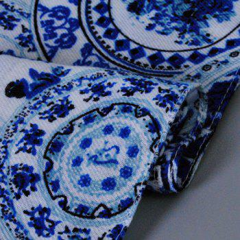 Chic Fulled Blue and White Porcelain Pattern Women's Scarf - BLUE/WHITE
