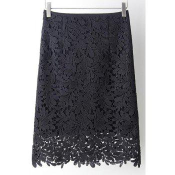 Elegant High Waist Cut Out Solid Color Lace Skirt For Women