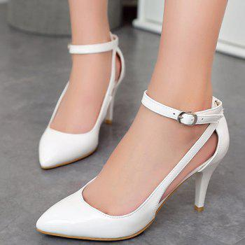 Pretty Patent Leather and Ankle Strap Design Pumps For Women - WHITE 36