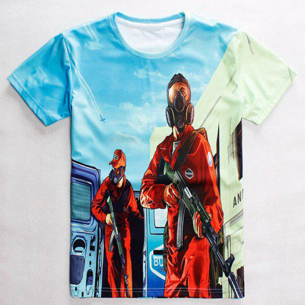 Modish Round Neck 3D Cartoon Pattern Short Sleeve Men's T-Shirt - COLORMIX M