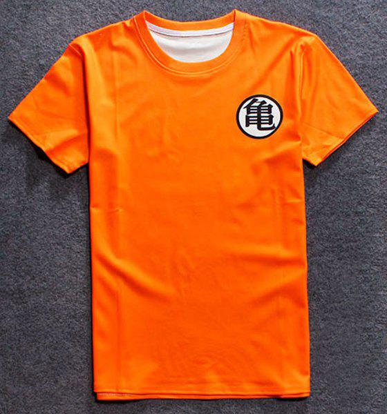 2018 3d Chinese Character Print Round Neck Short Sleeve Mens T