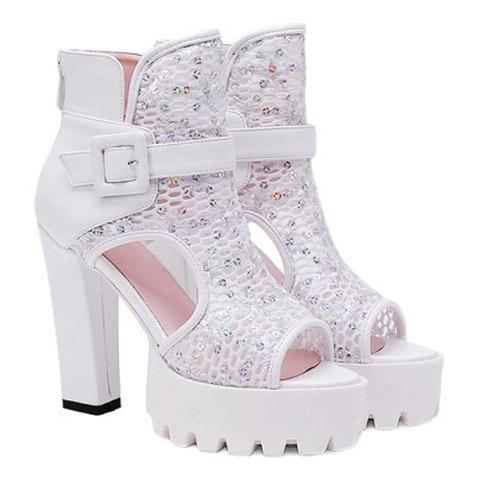 Fashion Hollow Out and Buckle Strap Design Peep Toe Shoes For Women - WHITE 36
