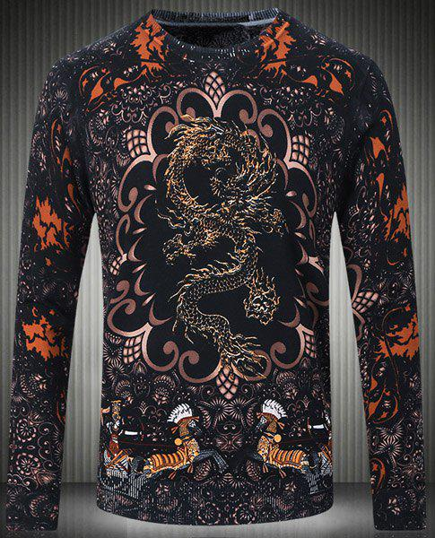 Slim Fit Round Collar Pullover Long Sleeves Printing Sweater For Men - COLORMIX 4XL