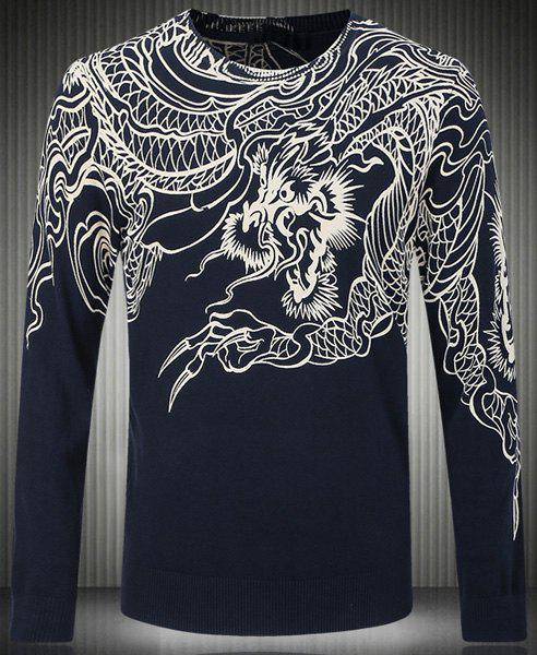 Slim Fit Round Collar Pullover Long Sleeves Dragon Pattern Sweater For Men - WHITE M