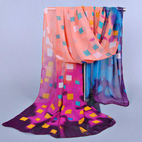 Chic Small Checked Pattern Multicolor Chiffon Scarf For Women -  PINK