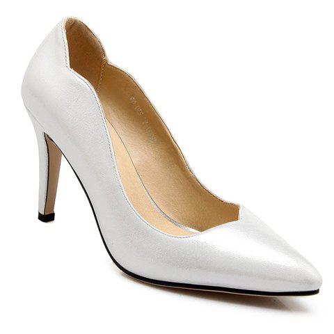 Office Style Stiletto Heel and PU Leather Design Women's Pumps - WHITE 39