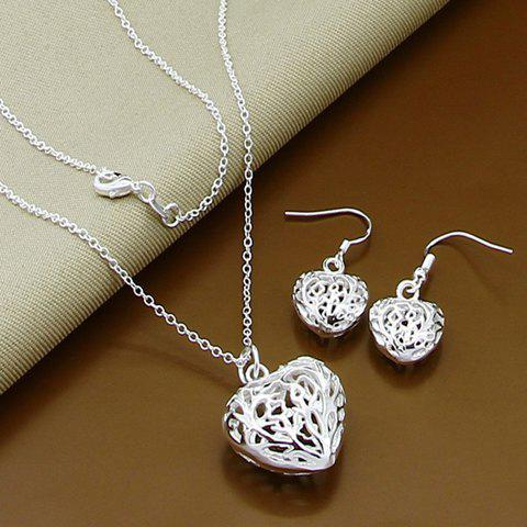 A Suit of Hollow Out Heart Necklace and Earrings - SILVER