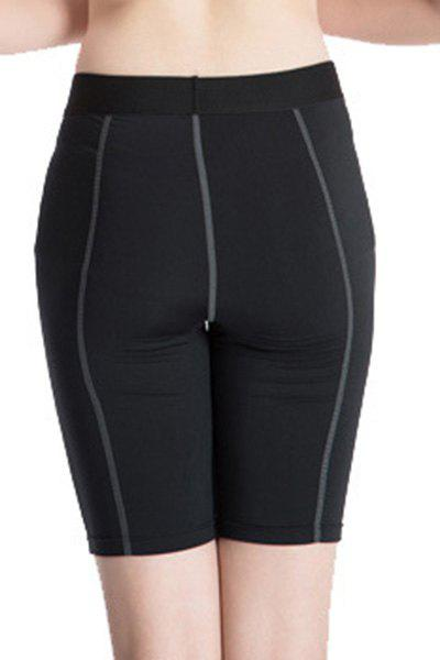 Fitted Solid Color Quick-Dry Sports Cropped Pants For Women - BLACK M