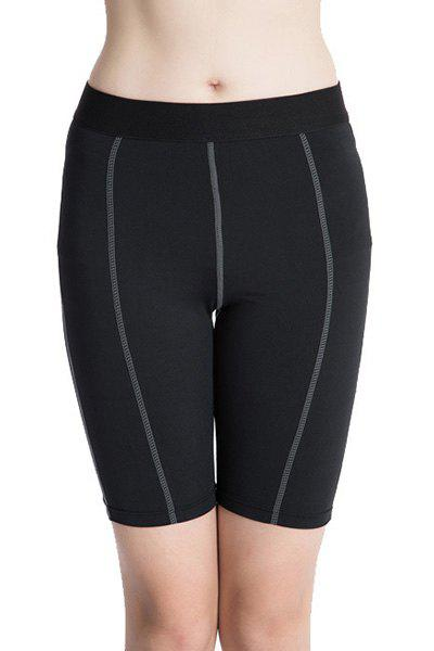 Fitted Solid Color Quick-Dry Sports Cropped Pants For Women - BLACK 2XL