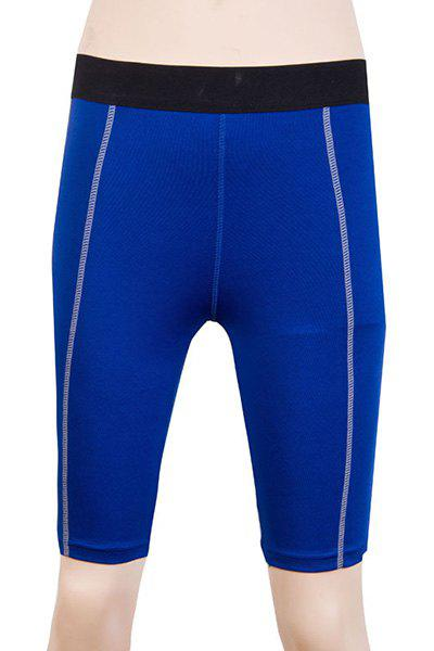 Fitted Solid Color Quick-Dry Sports Cropped Pants For Women - BLUE 2XL