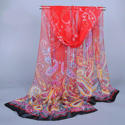 Chic Paisley Pattern Ethnic Style Womens Chiffon ScarfAccessories<br><br><br>Color: RED