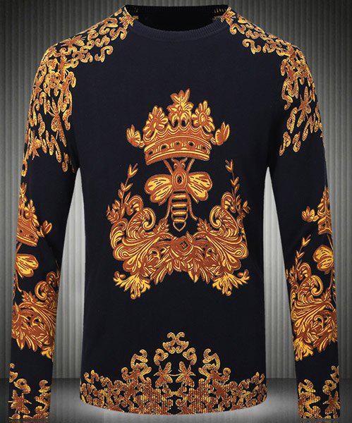 Slim Fit Round Collar Pullover Long Sleeves Chinese Style Printing Sweater For Men - COLORMIX L