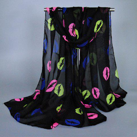 Chic Fulled Lip Pattern Women's Chiffon Scarf - BLACK