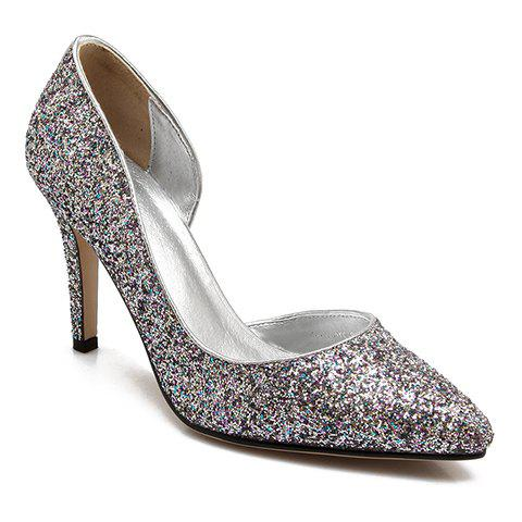 Trendy Sequined and Stiletto Heel Design Women's Pumps - SILVER 36