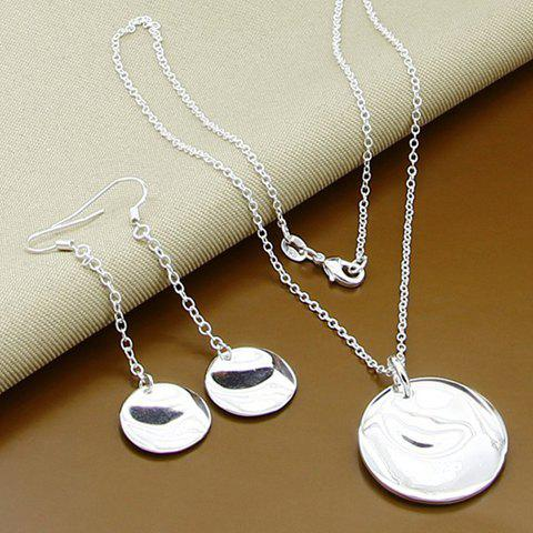 A Suit of Sequin Round Necklace and Earrings - SILVER