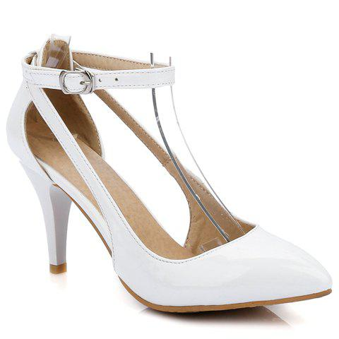 Pretty Patent Leather and Ankle Strap Design Pumps For Women - 36 WHITE