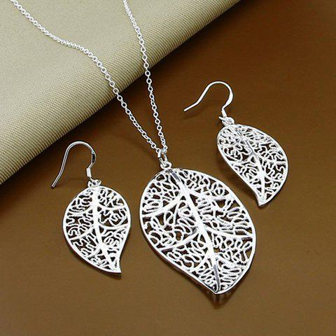 A Suit of Hollow Out Leaf Necklace and Earrings - SILVER