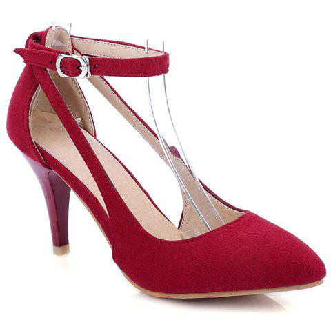 Pretty Suede and Ankle Strap Design Pumps For Women - RED 38