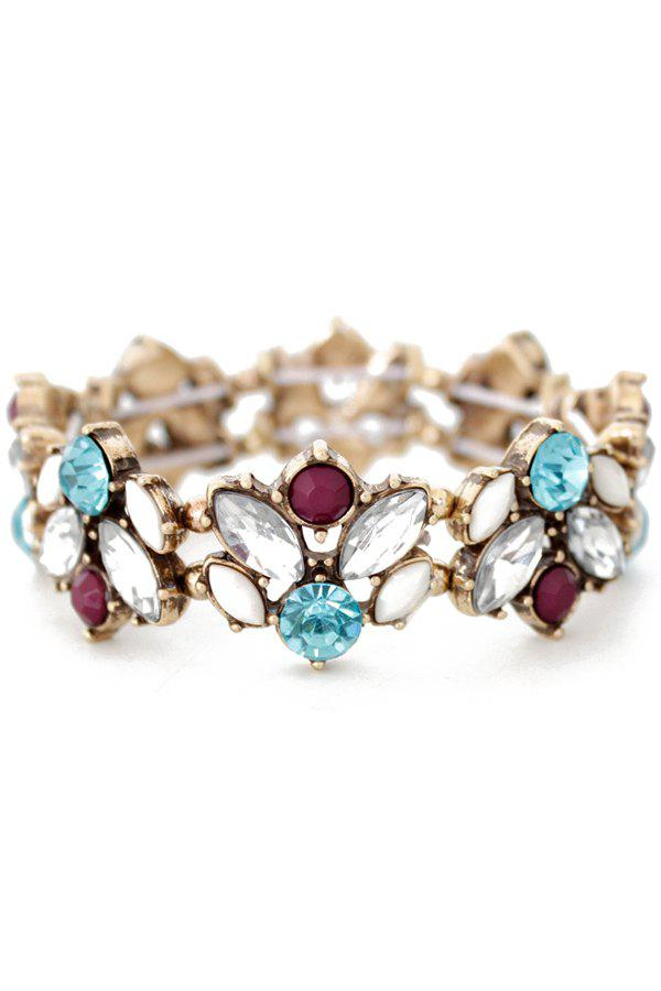 Delicate Faux Crystal Floral Cuff Bracelet For Women