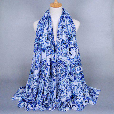 Chic Fulled Blue and White Porcelain Pattern Scarf For Women - BLUE/WHITE