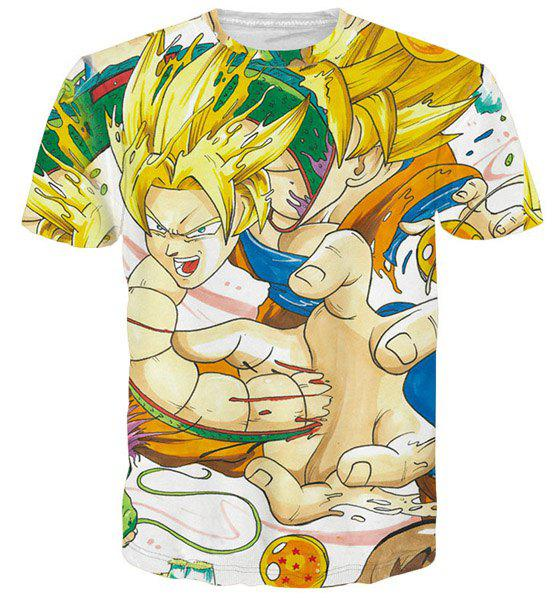 3D Dragon Ball Figure Print Round Neck Short Sleeve Men's T-Shirt - COLORMIX M