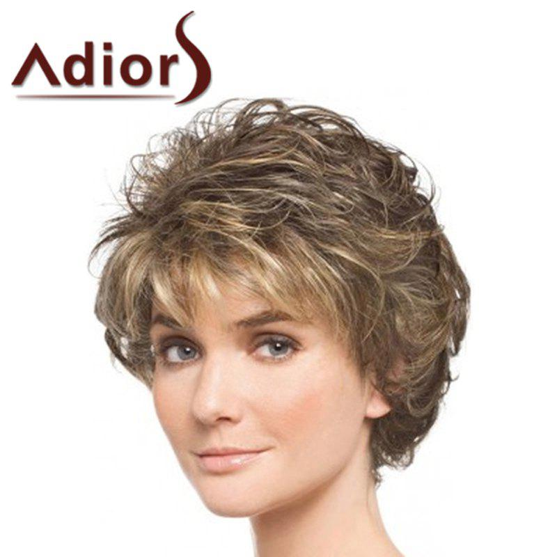 Fluffy Curly Side Bang Synthetic Stunning Short Brown Blonde Mixed Wig For Women