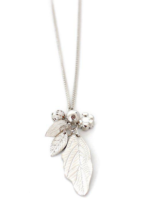 Stylish Solid Color Leaf Sweater Chain For Women - SILVER