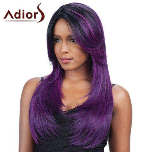 Charming Long Side Parting Synthetic Fluffy Straight Black Purple Ombre Women's Wig charming long synthetic black ombre red straight women s lace front wig