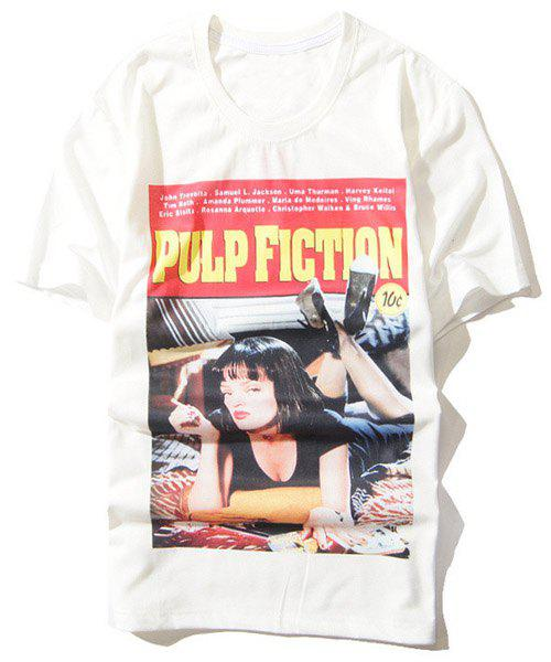 3D Letter and Sexy Girl Print Round Neck Short Sleeve Men's T-Shirt - WHITE XL