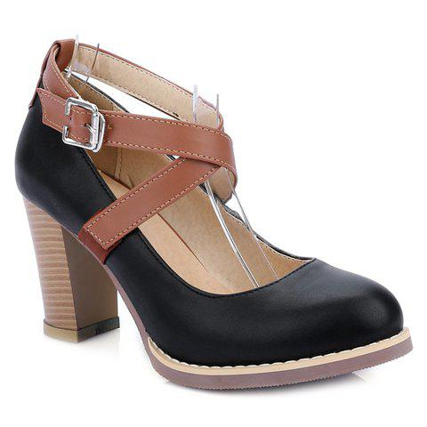 College Style Chunky Heels and Buckle Strap Design Pumps For Women - BLACK 38