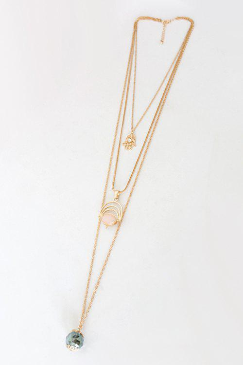 Chic Faux Gemstone Multi-Layered Sweater Chain For Women - GOLDEN