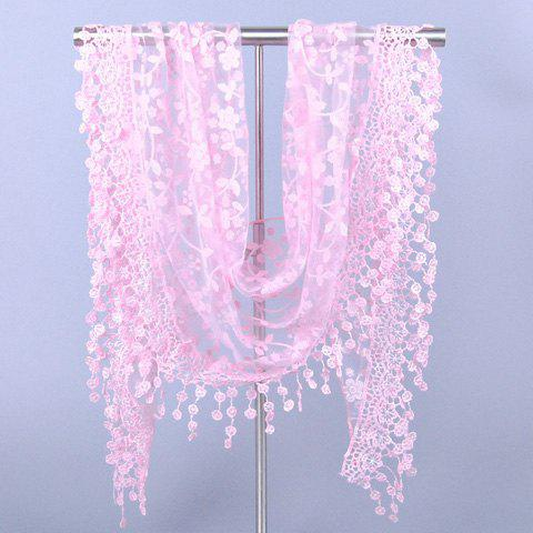 Chic Wintersweet Embroidery Pendant Lace Scarf For WomenAccessories<br><br><br>Color: PINK